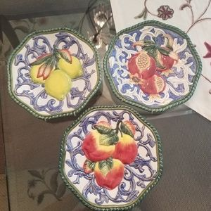 Fitz and Floyd Decorative Plates w/ Fruit